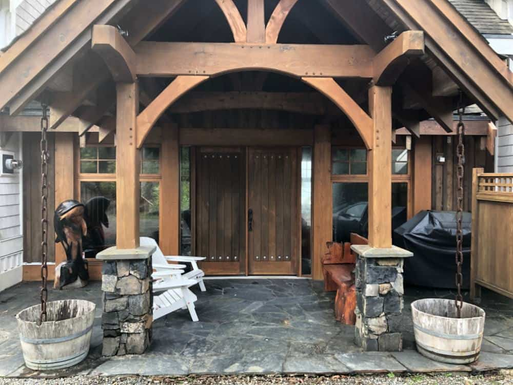 Here's a photo of the main entrance which leads into the main hall with large stone fireplace.