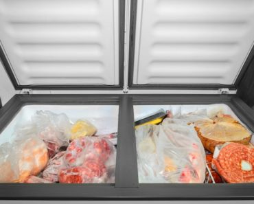 A chest freezer with two compartments