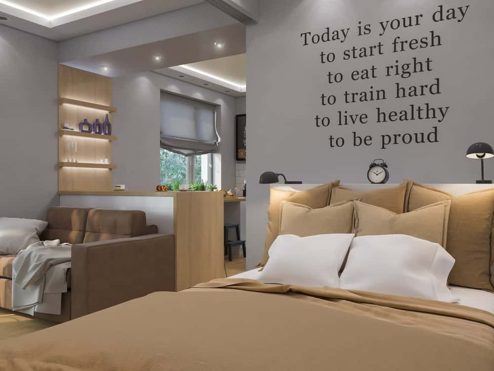 Master bedroom with quote on the wall serving as wall art