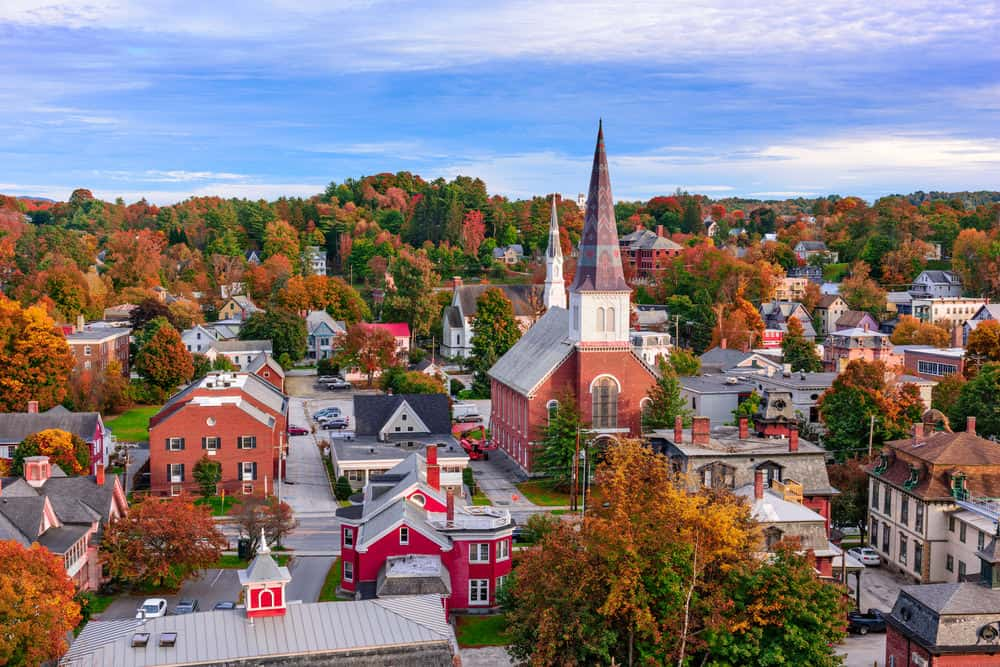 Aerial view of Montpelier, Vermont