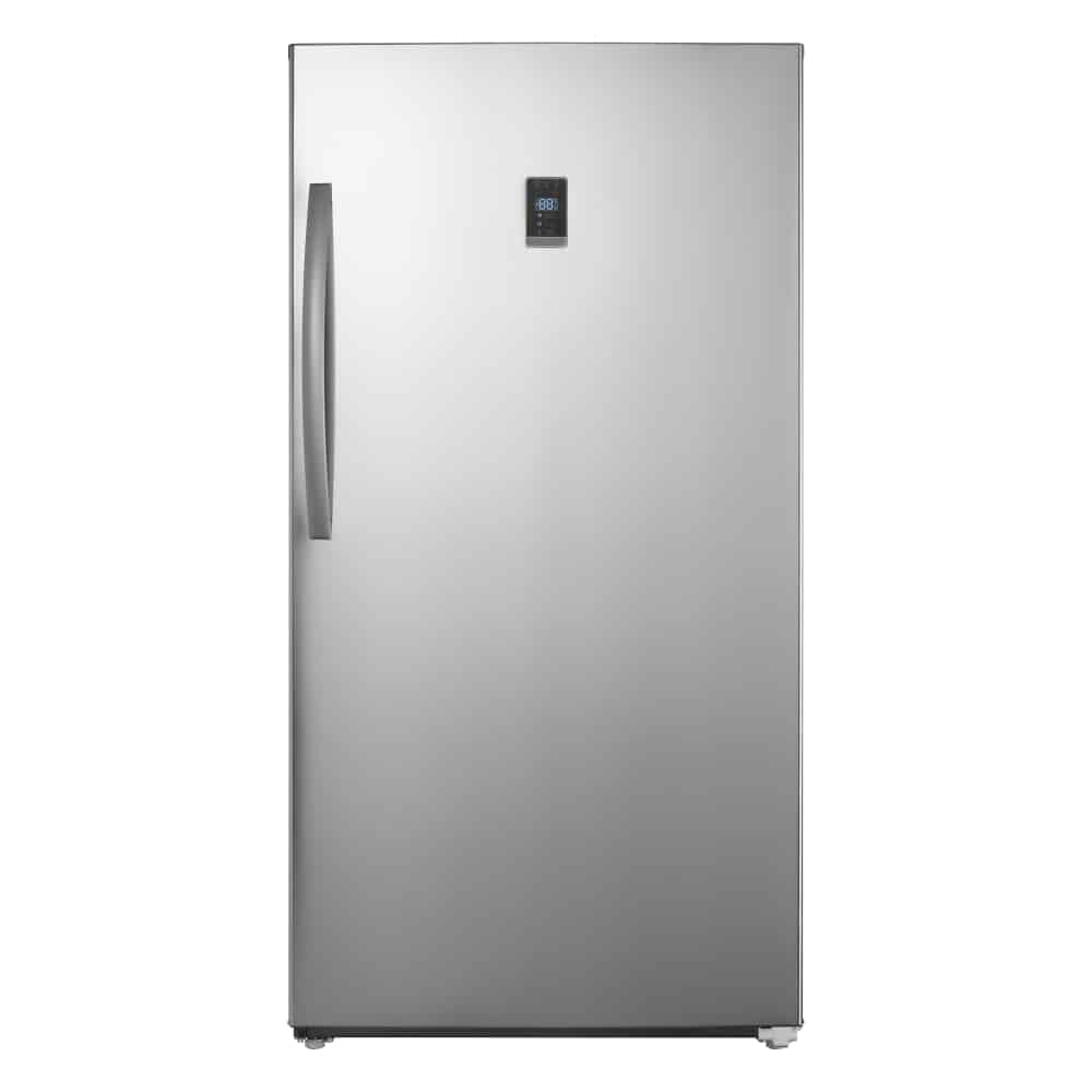 A metallic colored standalone upright freezer