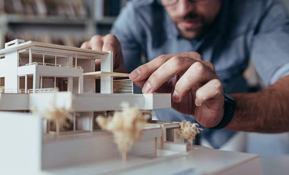 An architect preparing a model