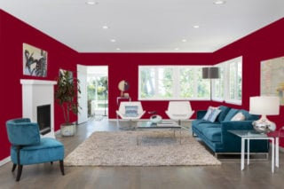Burgundy living room - RGB: R123G0B31