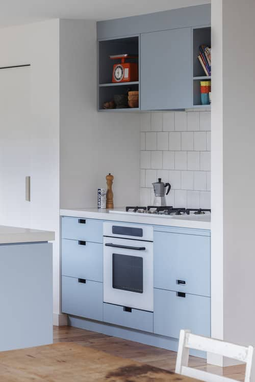 Close-up of baby blue kitchen cabinets with white walls
