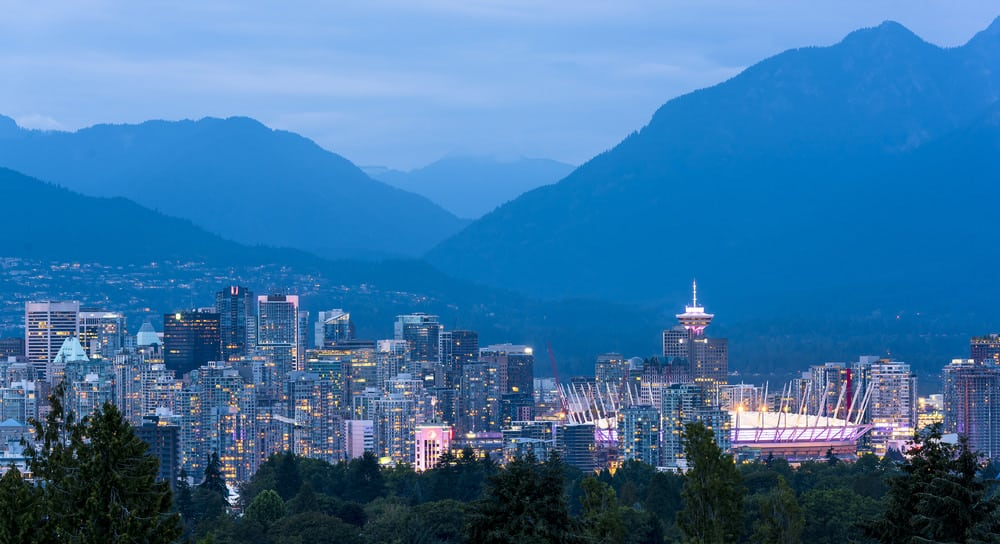 Buildings at dusk in city of Vancouver, BC Canada