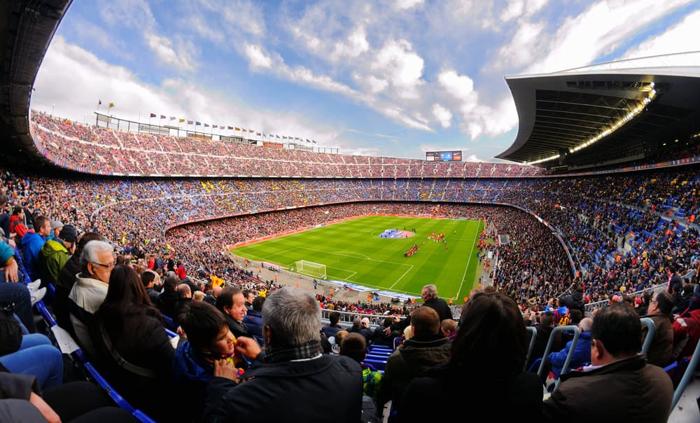 Camp Nou Stadium in the football match between Futbol Club Barcelona and Granada of the Spanish League on November 23, 2013 in Barcelona, Spain