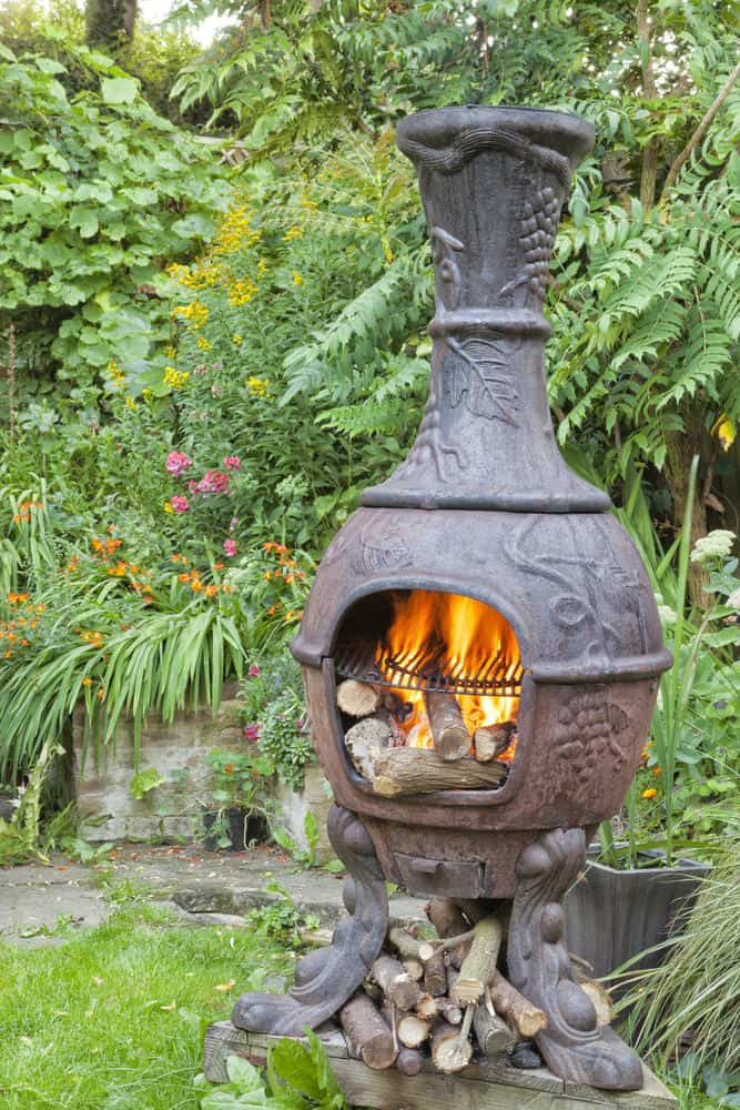 Chiminea on a patio