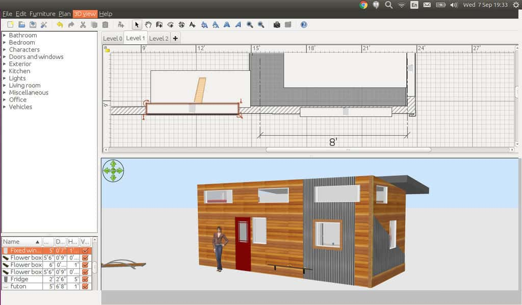 Software design blueprint of a tiny house being designed on a computer.