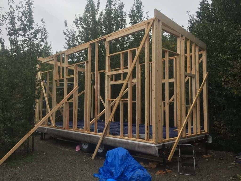 Tiny house under construction - the framing portion for the exterior and interior walls.