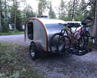 Exterior view of homemade teardrop camper trailer