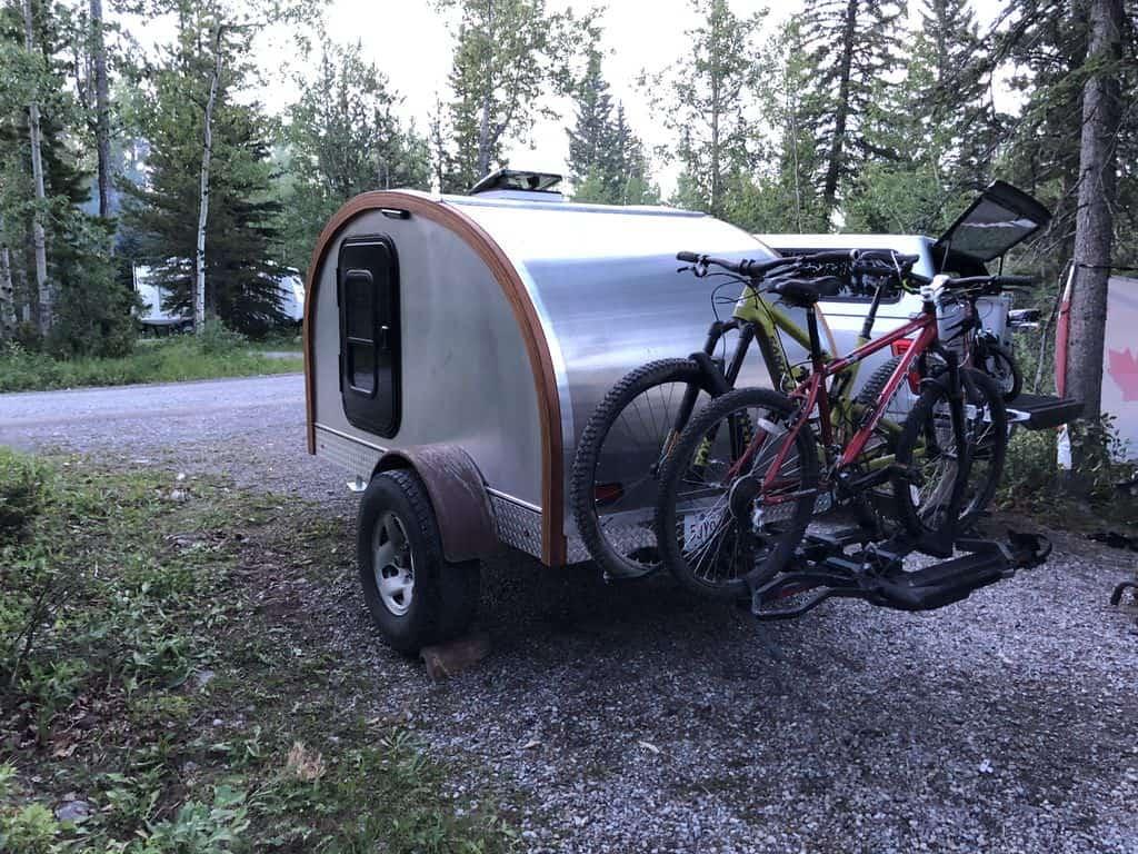 Exterior view of homemade teardrop camper trailer