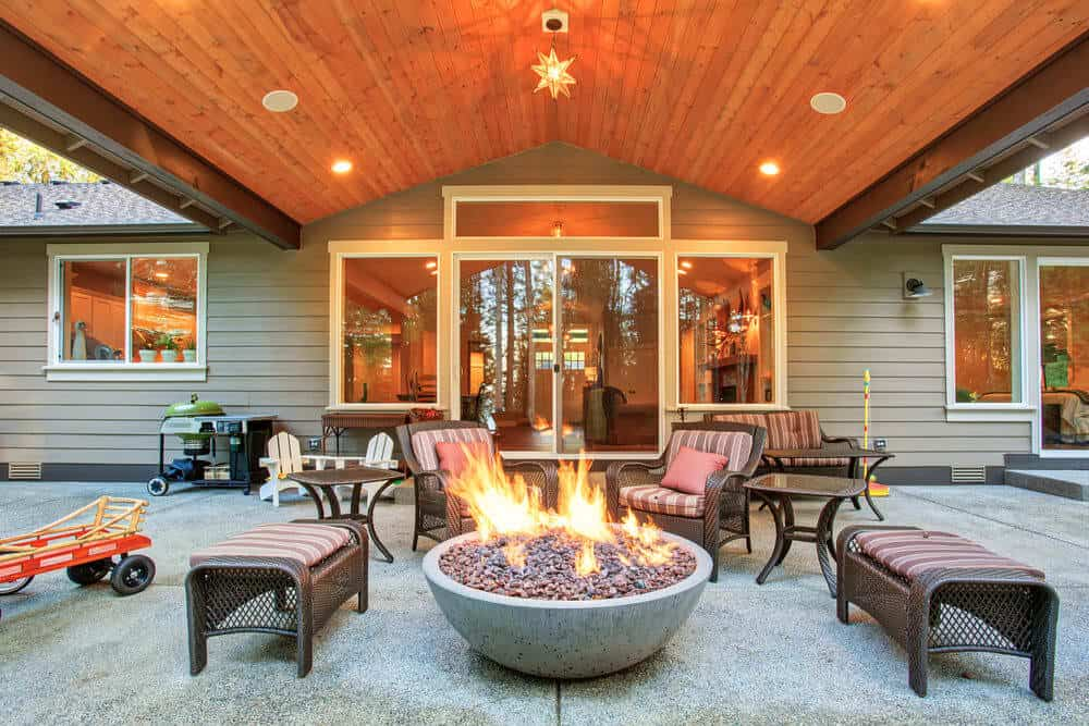 Fire pit on patio in the backyard