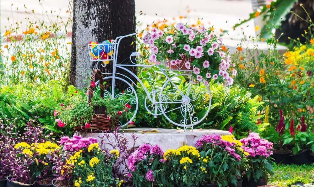 Flower garden with bicycle planter