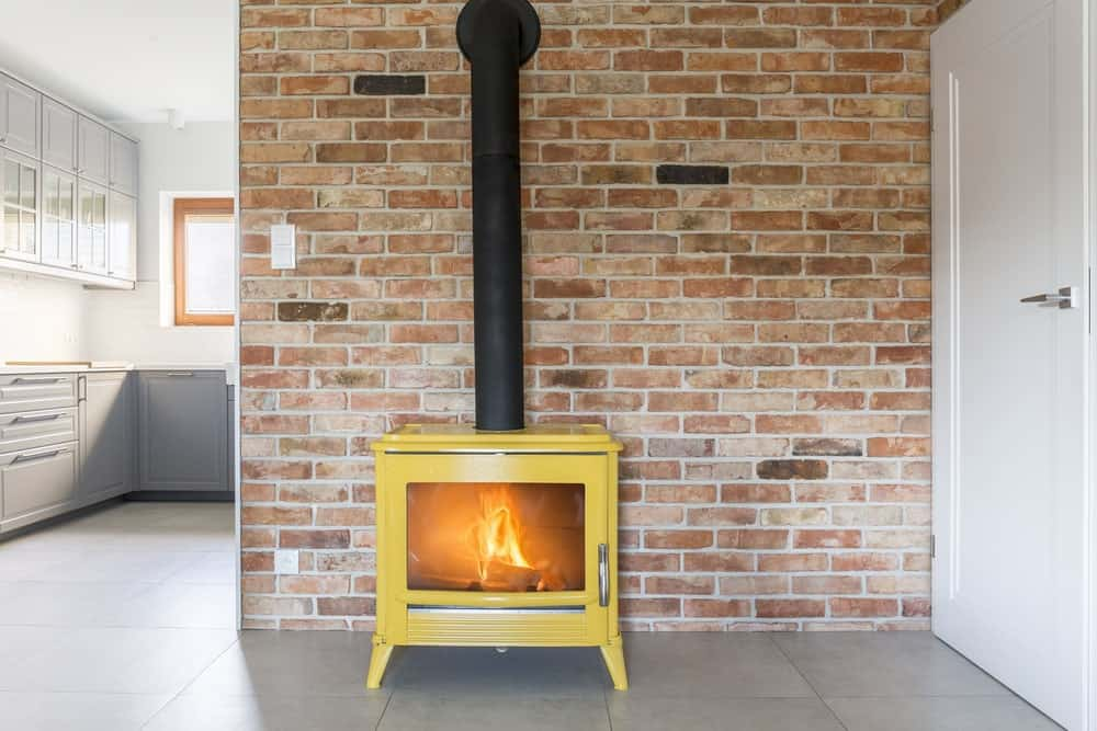 Freestanding Stove with a Chimney Wall