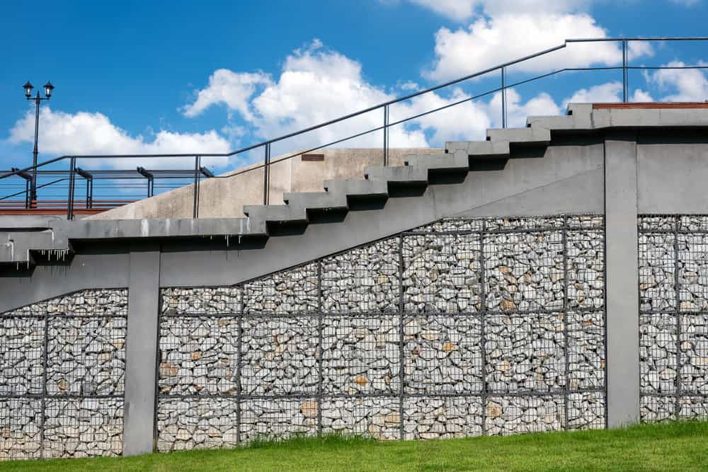 Gabion staircase foundation and support.