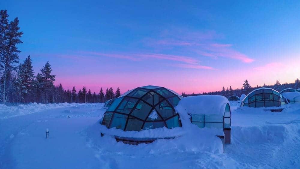 Glass igloo at Kakslauttanen Arctic Resort Finland