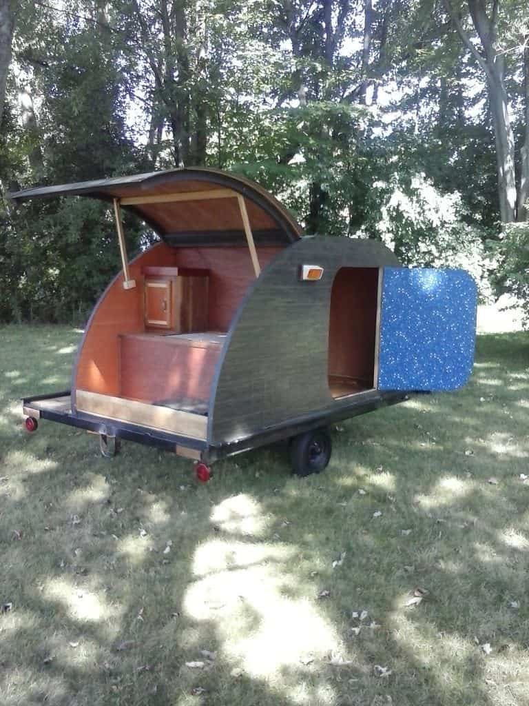 Great homemade teardrop trailer with red interior