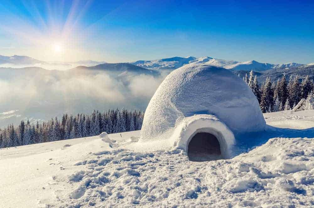 Igloo on snowy mountain