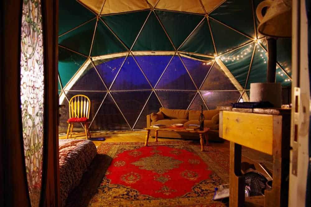 Interior small geodesic dome house in North Carolina
