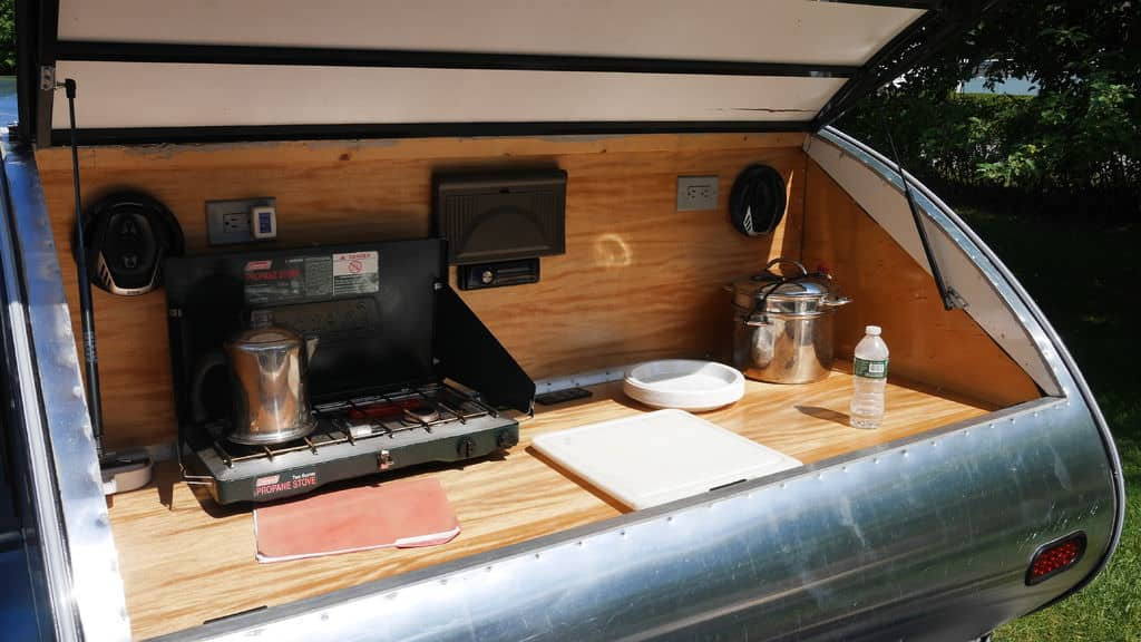 Kitchen hatch on diy teardrop camper