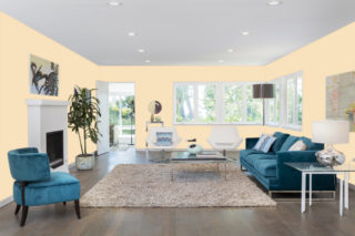 Light beige living room - RGB: R248G225B189