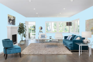 Light blue living room - RGB: R201G234B249