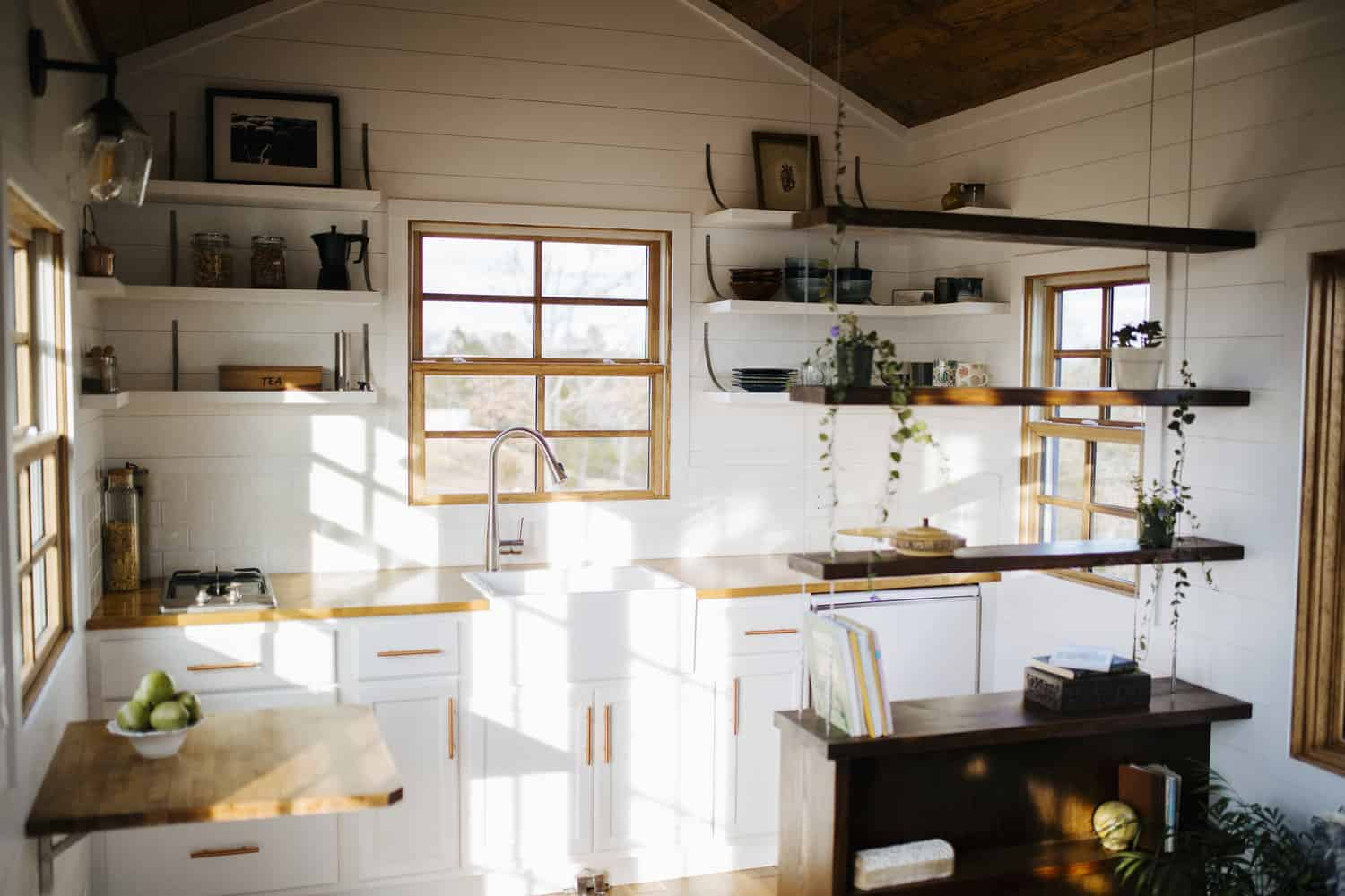 Large white kitchen in tiny house