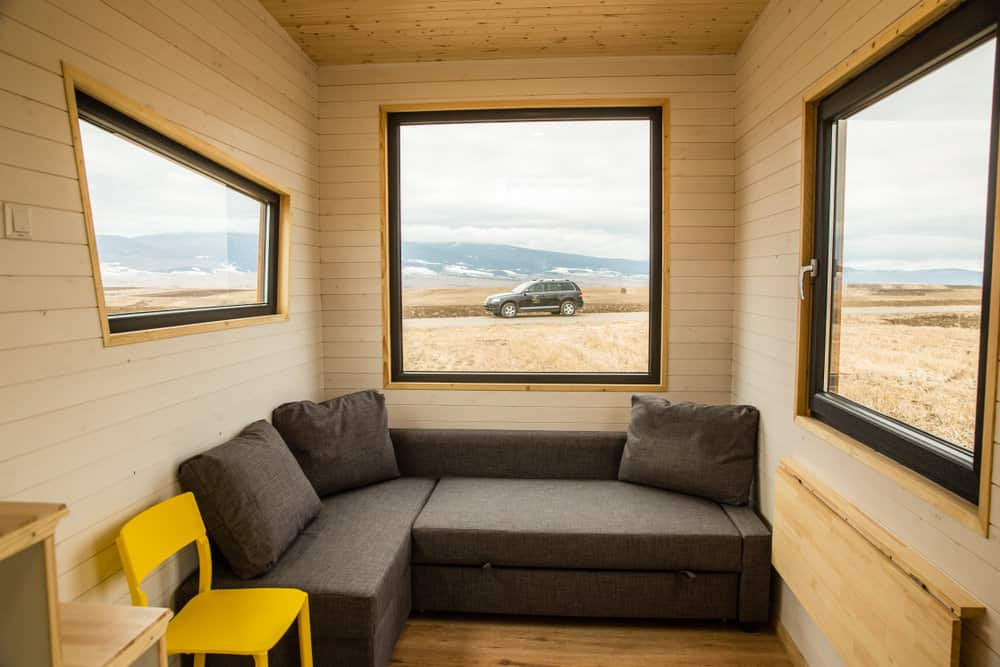 Living room in a very small highly portable tiny house