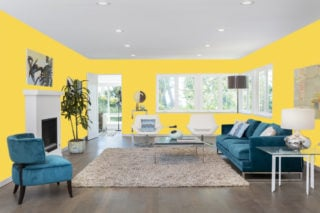 Yellow living room - RGB: R247G214B83