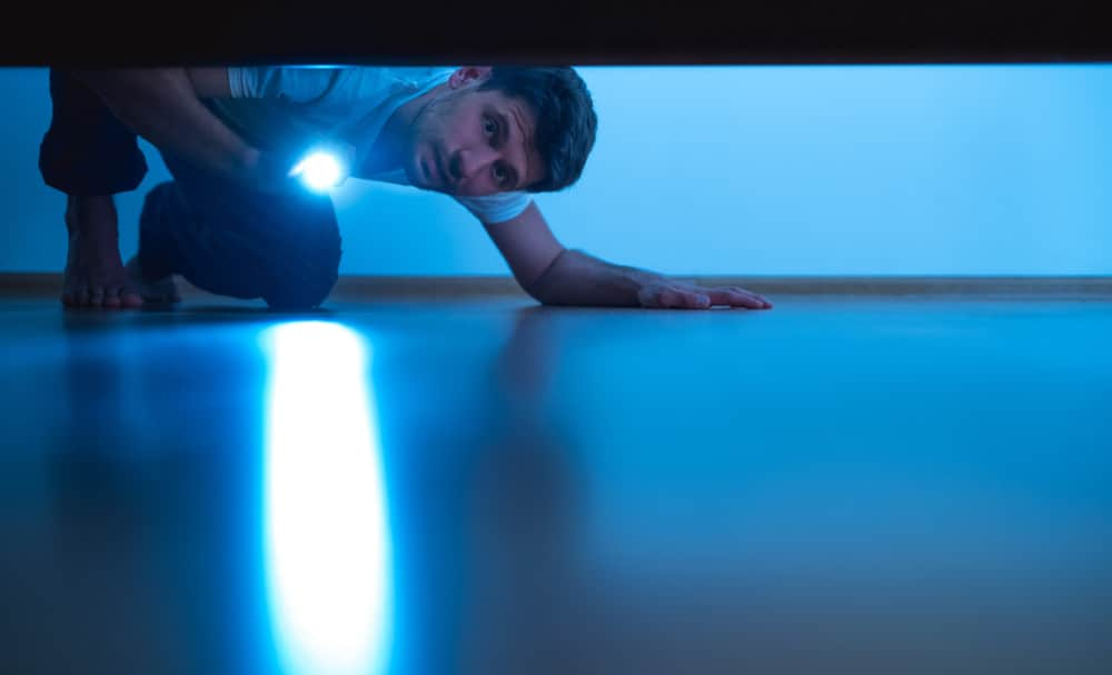 Man looking for something under the bed