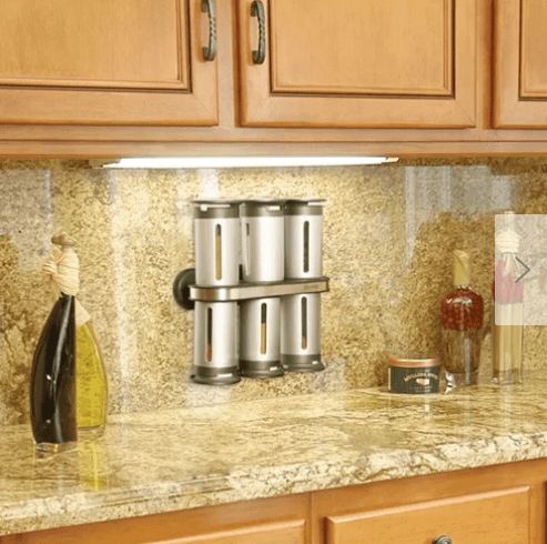 The over under magnetic spice rack is a stylish addition to your kitchen counters.