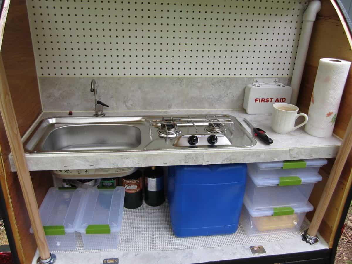 Rear kitchen on diy teardrop trailer