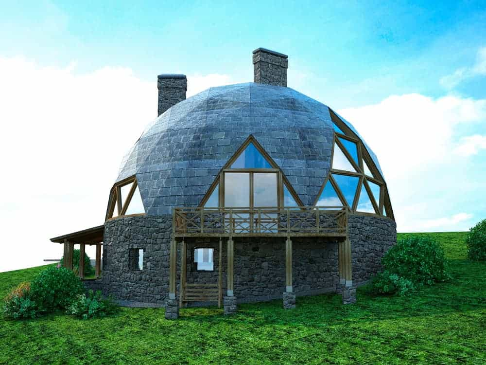 Rear view of geodesic house with chimney