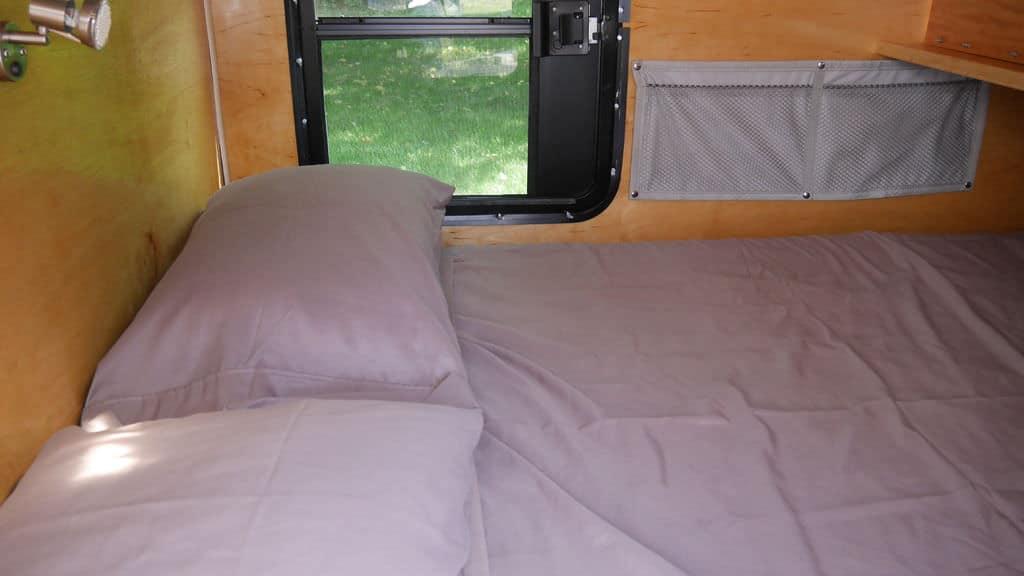 Sleeping quarters in diy teardrop trailer