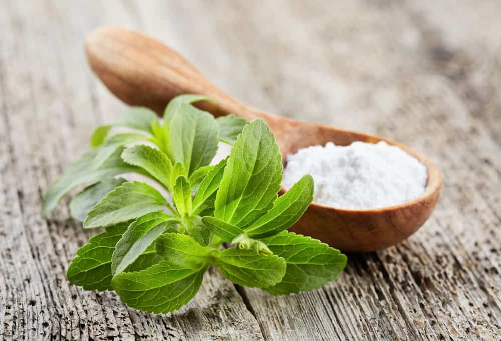 Bunch of Stevia leaves in a Wooden Spoon