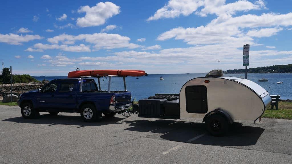 Teardrop camper with extra trailer storage