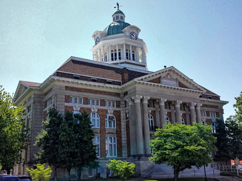 The Giles County courthouse built in 1909 in historic Pulaski Tennessee