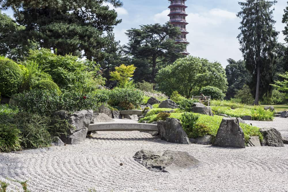 The Japanese landscape with the Pagoda Tower on the background at Kew Gardens, Royal Botanical Gardens, London, UK