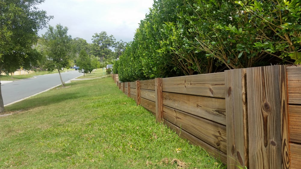 Timber retaining wall example