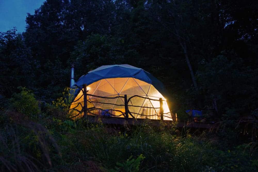 Tiny geodesic dome house