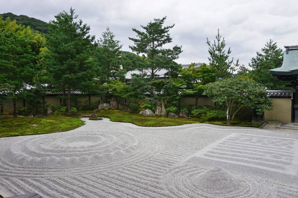 Traditional Japanese raked gravel and rock garden (karesansui style) at Kodai-ji Temple in Kyoto, Japan