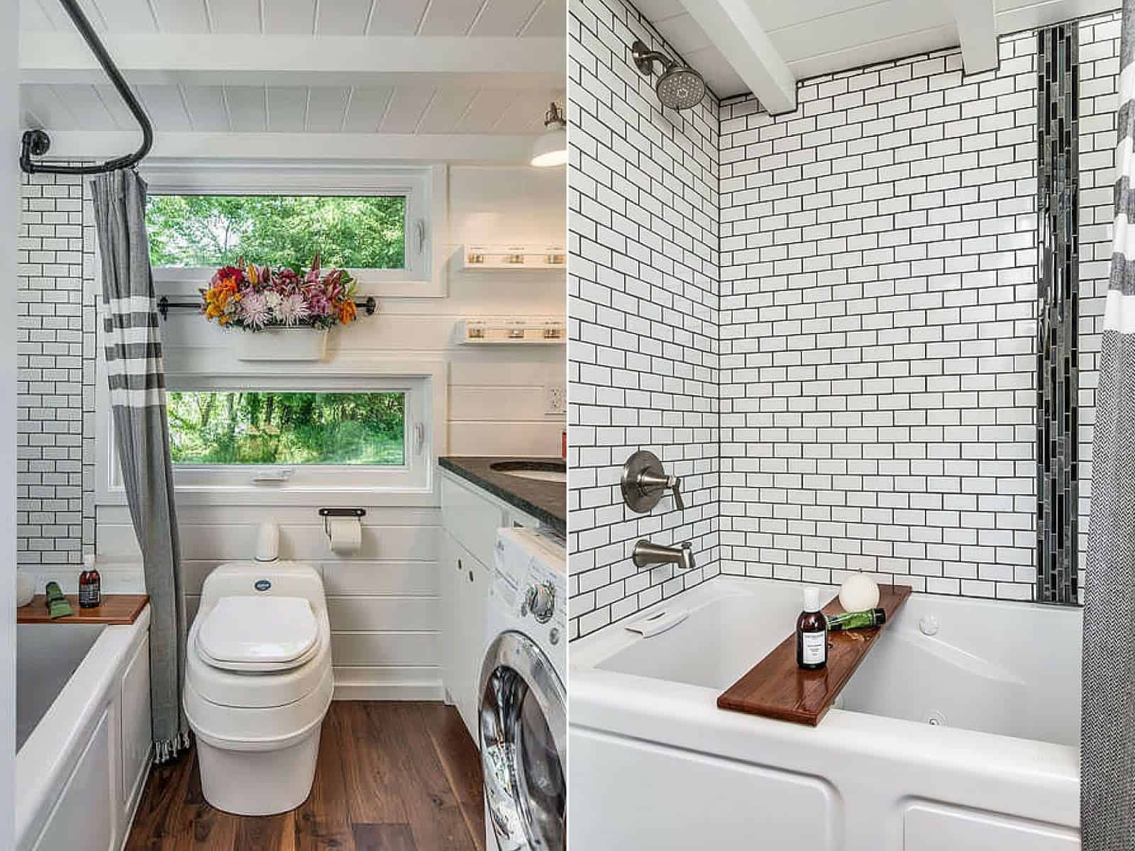 Another example of an efficient tiny house bathroom with a tub as well as a washing machine and dryer. The dark wood floor contrasts very nicely with the white wood walls as well as the subway tile walls surrounding the tub.