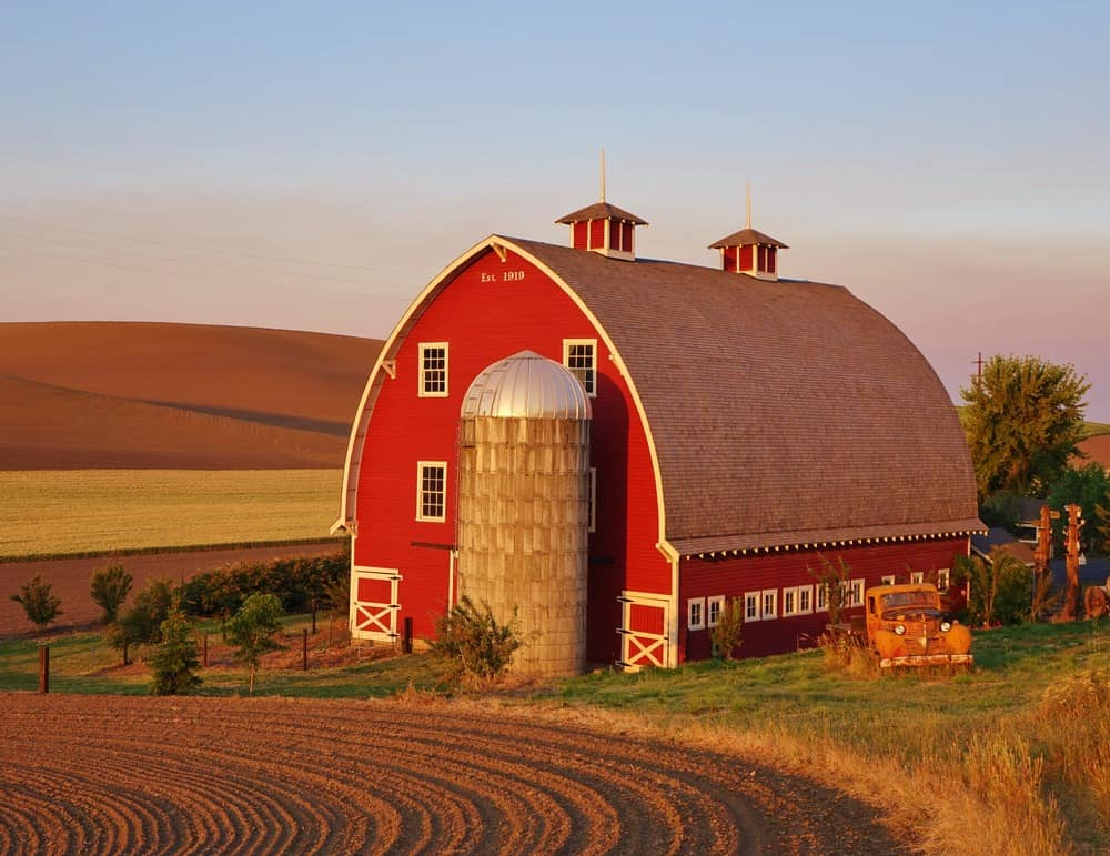 big red barn on a farm on the Palouse in eastern Washington