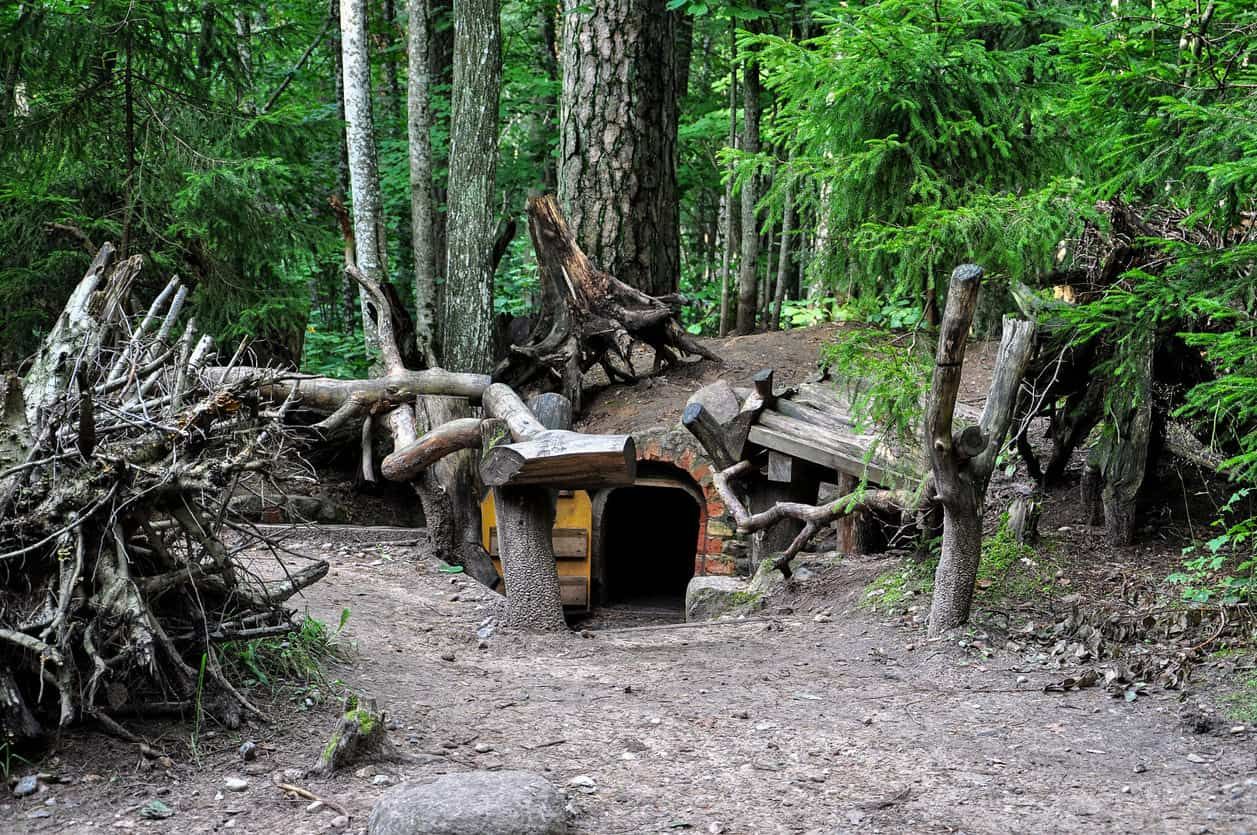 Large fairy houses in the woods.