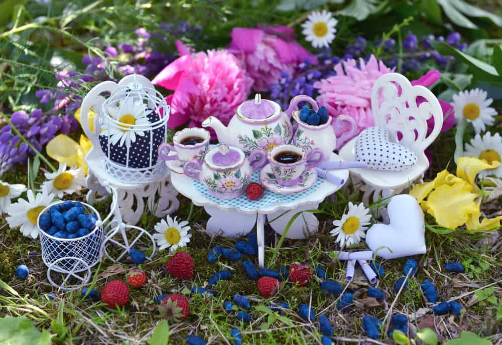 Fairy tea time with this miniature fairy tea table and chairs.