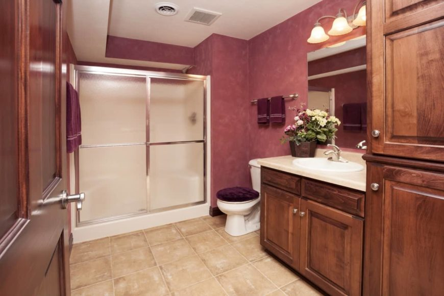 A classy bathroom in the finished basement featuring red walls and tiles flooring.