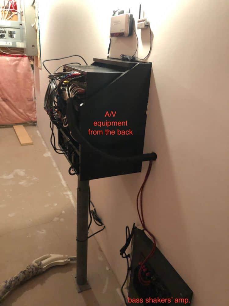 Photo of the AV equipment from the back. Includes antennae for URC (universal remote).å