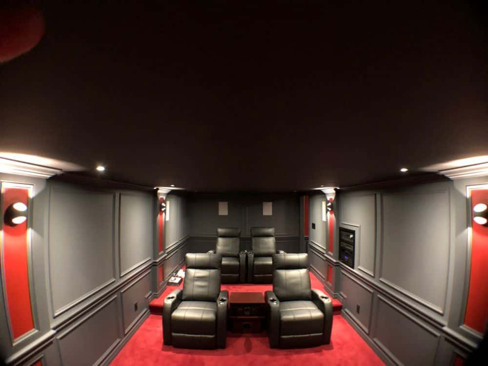View of completed home theater from the front.