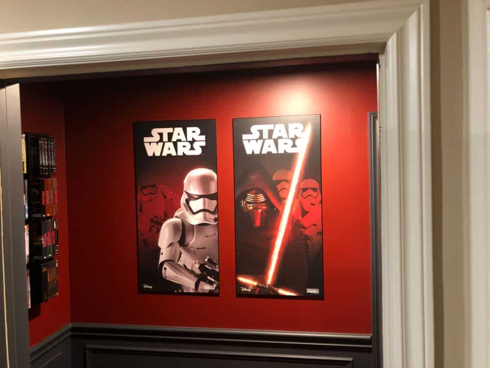 The home cinema includes some nice touches like movie posters.