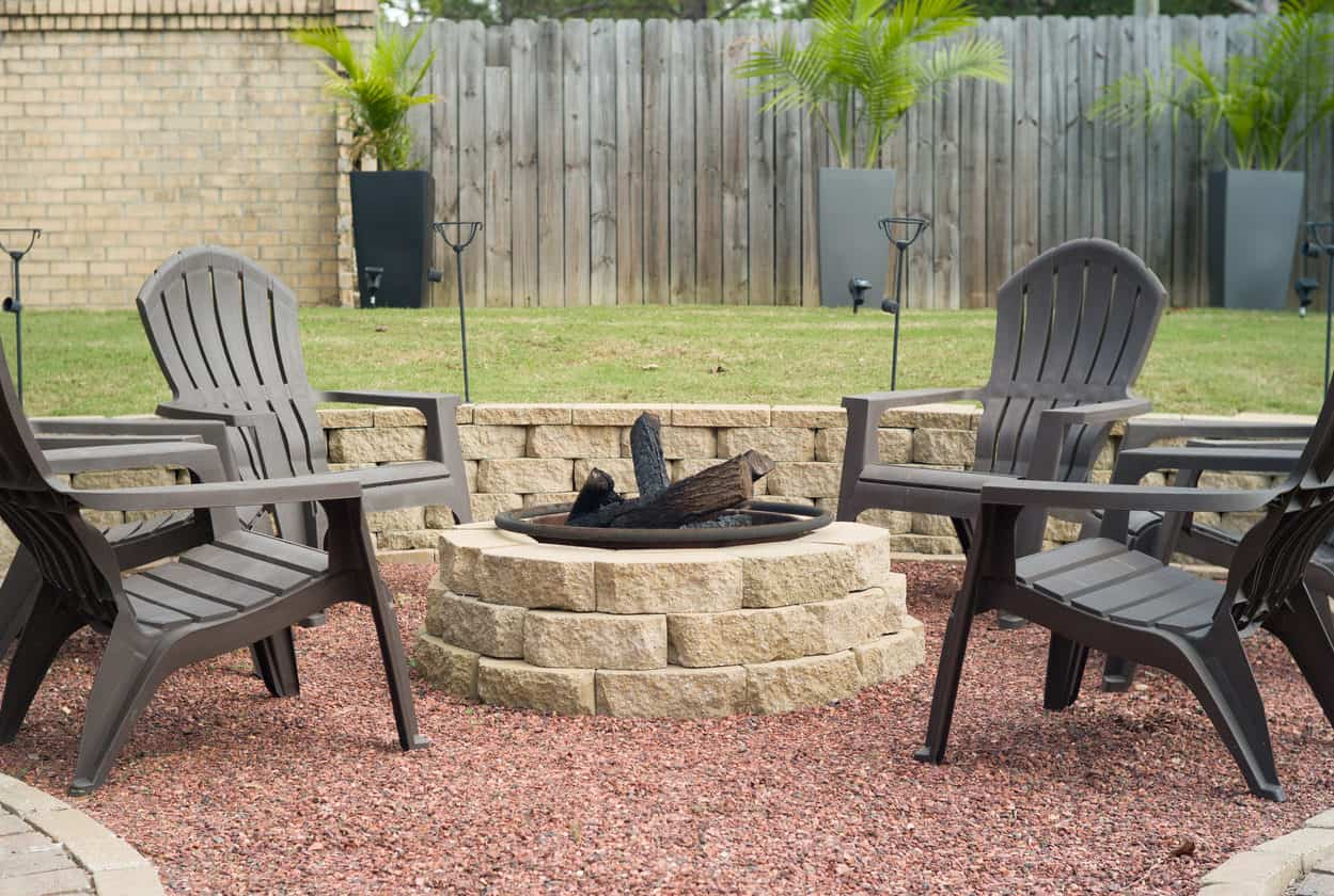 We have these faux plastic Adirondack chairs in our yard. They're inexpensive and comfortable. These are a great seating options for around a fire pit.